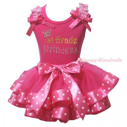 Hot Pink Baby Pettitop Light Pink Ruffles Hot Pink White Dots Bow & Sparkle 1st Grade Princess Painting & Hot Pink White Dots Trimmed Baby Pettiskirt NG2174