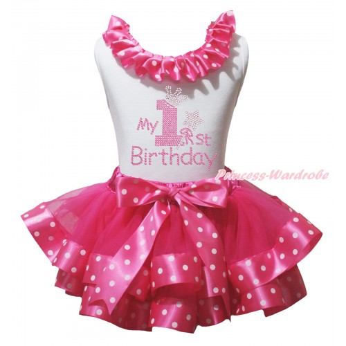 White Baby Pettitop Hot Pink White Dots Lacing & Sparkle Rhinestone My 1st Birthday Print & Hot Pink White Dots Trimmed Baby Pettiskirt NG2177