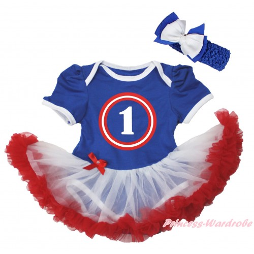 Royal Blue Baby Bodysuit White Red Pettiskirt & Captain America One Print JS5651