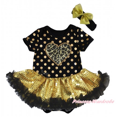 Black Gold Dots Baby Bodysuit Black Gold Sequins Pettiskirt & Leopard Heart Print JS5678