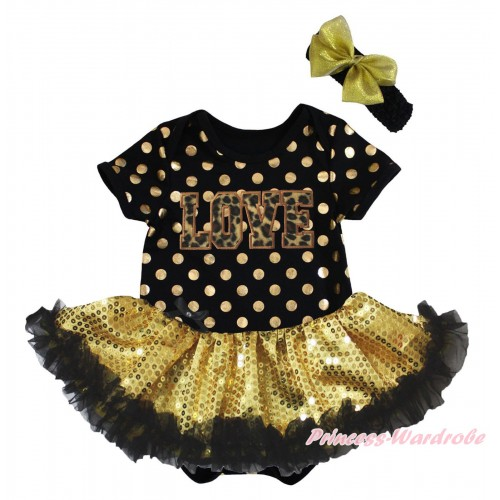 Black Gold Dots Baby Bodysuit Black Gold Sequins Pettiskirt & Leopard LOVE Print JS5679