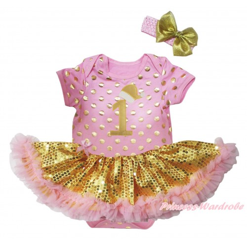 Christmas Light Pink Gold Dots Baby Bodysuit Light Pink Gold Sequins Pettiskirt & 1st Gold Santa Hat Birthday Number JS5692