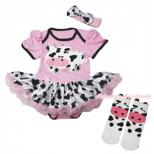 Light Pink Baby Bodysuit Milk Cow Pettiskirt & Milk Cow Print & Milk Cow Animal Cotton Stocking JS5716