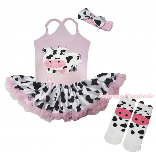 Light Pink Baby Halter Jumpsuit Milk Cow Pettiskirt & Milk Cow Print & Milk Cow Animal Cotton Stocking JS5719