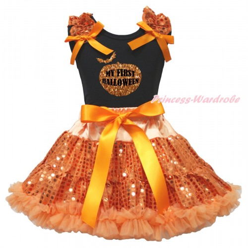 Halloween Black Tank Top Orange Sequins Ruffles Orange Bows & Sparkle Pumpkin My First Halloween Painting & Bling Orange Sequins Pettiskirt MG2361