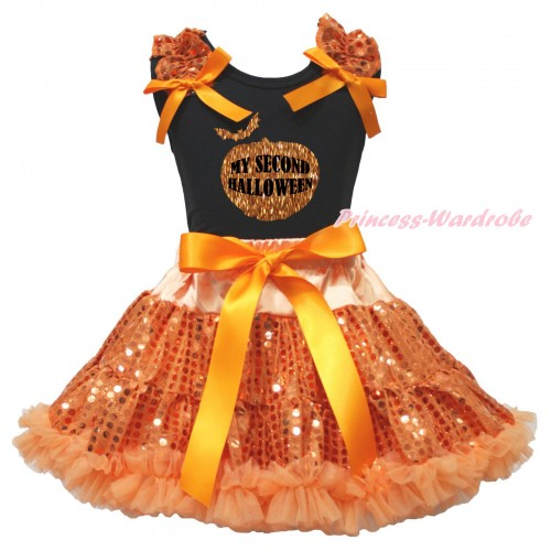 Halloween Black Tank Top Orange Sequins Ruffles Orange Bows & Sparkle Pumpkin My Second Halloween Painting & Bling Orange Sequins Pettiskirt MG2362