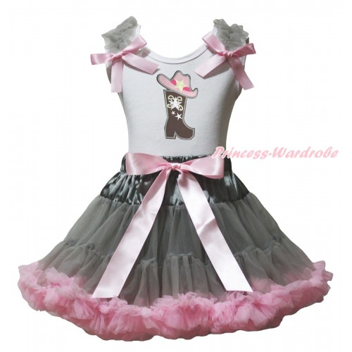 White Tank Top Grey Ruffles Light Pink Bows & Cowgirl Hat Boot Print & Grey Light Pink Pettiskirt MG2375