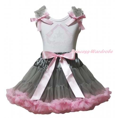 White Tank Top Grey Ruffles Light Pink Bows & Rhinestone Cowgirl Print & Grey Light Pink Pettiskirt MG2377