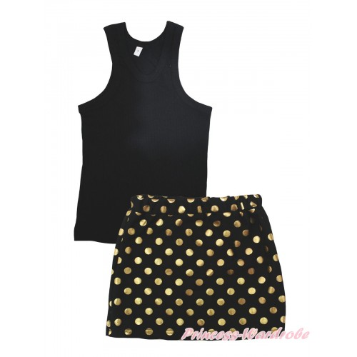 Black Tank Top & Black Gold Dots Girls Skirt Set MG2386