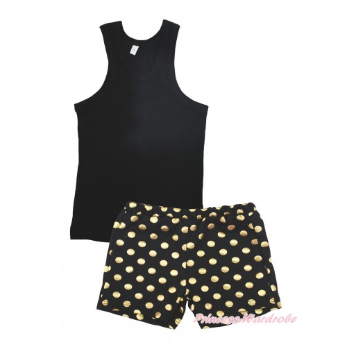 Black Tank Top & Black Gold Dots Girls Pantie Set MG2388