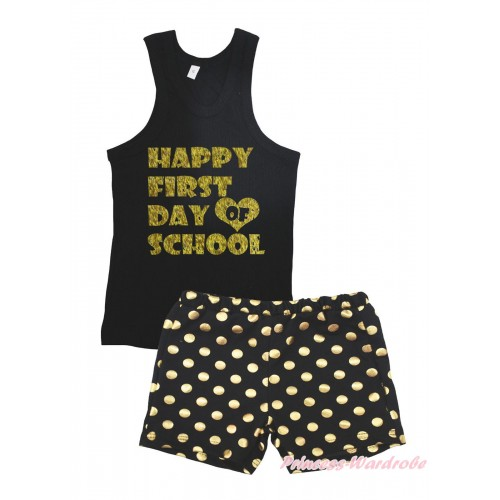 Black Tank Top Happy First Day Of School Painting & Black Gold Dots Girls Pantie Set MG2389