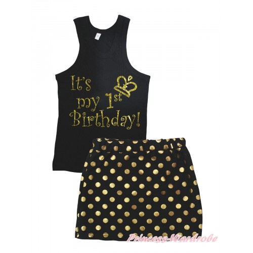 Black Tank Top It's My 1st Birthday Painting & Black Gold Dots Girls Skirt Set MG2390