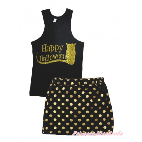 Halloween Black Tank Top Happy Halloween Painting & Black Gold Dots Girls Skirt Set MG2391