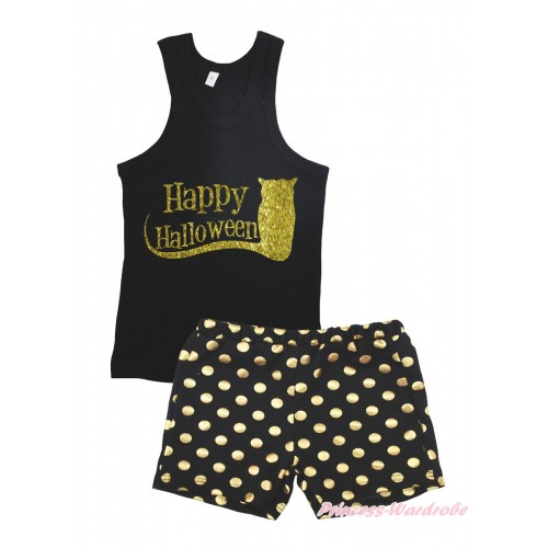 Halloween Black Tank Top Happy Halloween Painting & Black Gold Dots Girls Pantie Set MG2394