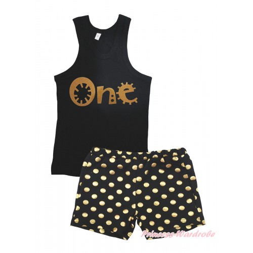 Black Tank Top One Painting & Black Gold Dots Girls Pantie Set MG2395