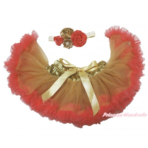 Brown Red Newborn Pettiskirt & Cream White Headband & Bunch Of Brown Red Vintage Garden Pearl Rosettes Flower N307