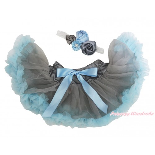 Light Blue Grey Newborn Pettiskirt & White Headband & Bunch Of Light Blue Grey Vintage Garden Pearl Rosettes Flower N308