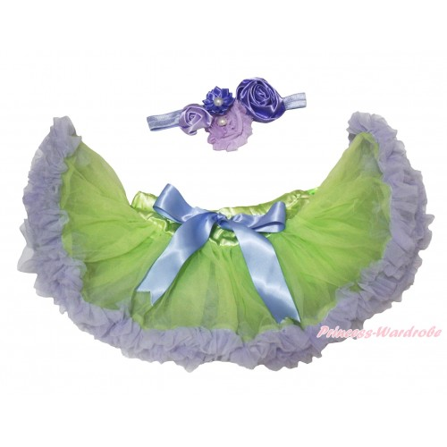 Light Green Lavender Newborn Pettiskirt & Lavender Headband & Bunch Of Lavender Vintage Garden Pearl Rosettes Flower N309