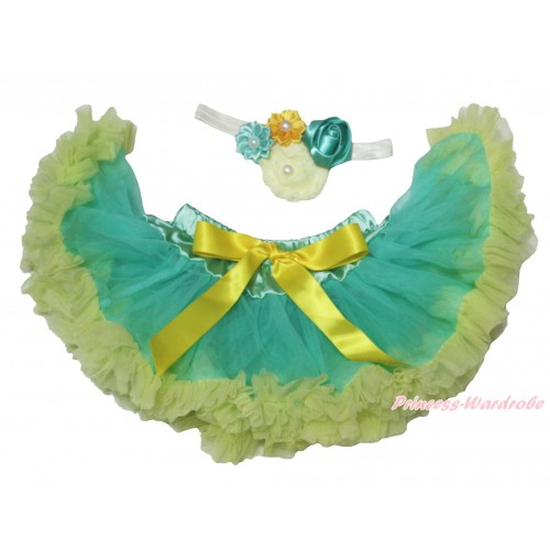 Light Kelly Green Newborn Pettiskirt & White Headband & Bunch Of Yellow Kelly Green Cream White Vintage Garden Pearl Rosettes Flower N310