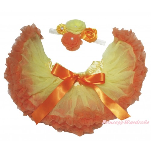 Orange Yellow Newborn Pettiskirt & White Headband & Bunch Of Orange Yellow Vintage Garden Pearl Rosettes Flower N311