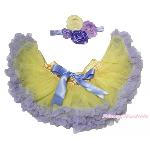 Lavender Yellow Newborn Pettiskirt & Lavender Headband & Bunch Of Lavender Yellow Vintage Garden Pearl Rosettes Flower N312