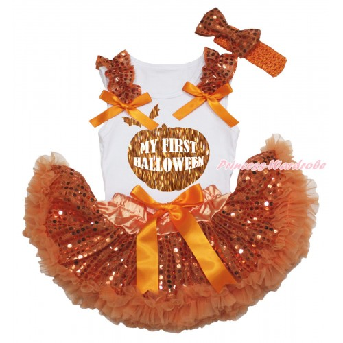Halloween White Baby Pettitop Orange Sequins Ruffles Orange Bows & Sparkle Pumpkin My First Halloween Painting & Orange Bling Sequins Newborn Pettiskirt NG2188