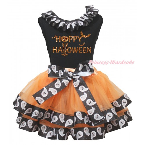 Halloween Black Baby Pettitop White Ghost Lacing & Happy Halloween Painting & Orange White Ghost Trimmed Newborn Pettiskirt NG2199