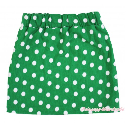 Kelly Green White Dots Girls Cotton Skirt P259