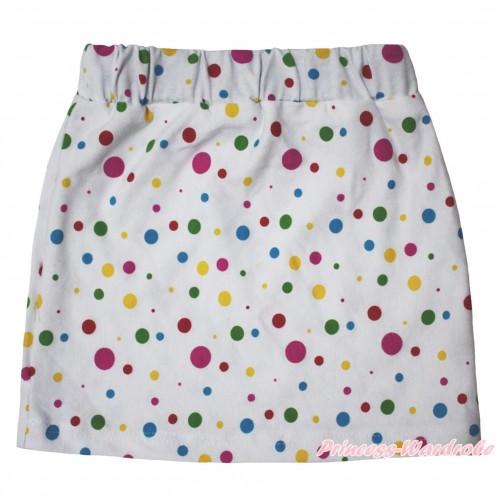 White Rainbow Dots Girls Cotton Skirt P261
