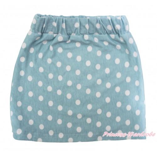 Light Blue White Dots Girls Cotton Skirt P264