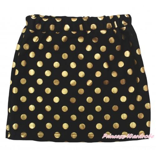 Black Gold Dots Girls Cotton Skirt P266