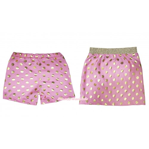 Light Pink Gold Dots Cotton Short Panties & Skirt 2 Piece Set PS026