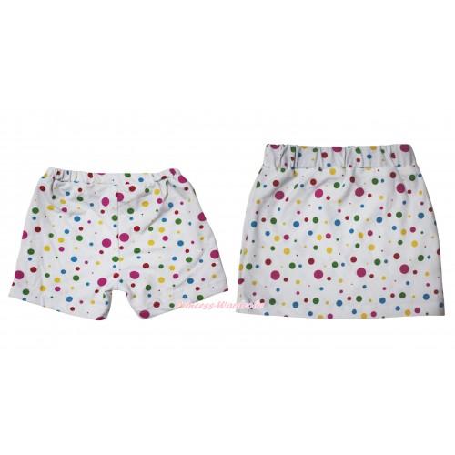 White Rainbow Dots Cotton Short Panties & Skirt 2 Piece Set PS030