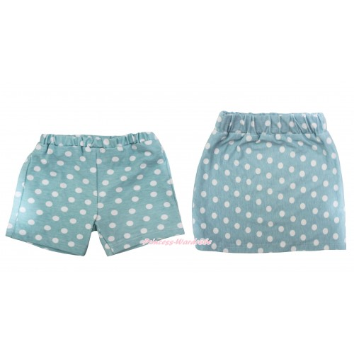 Light Blue White Dots Cotton Short Panties & Skirt 2 Piece Set PS031