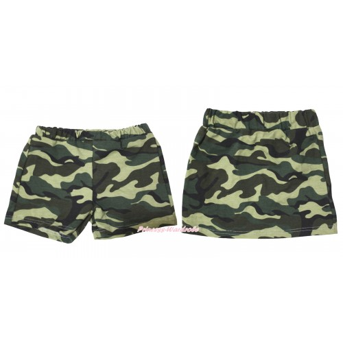 Camouflage Cotton Short Panties & Skirt 2 Piece Set PS032