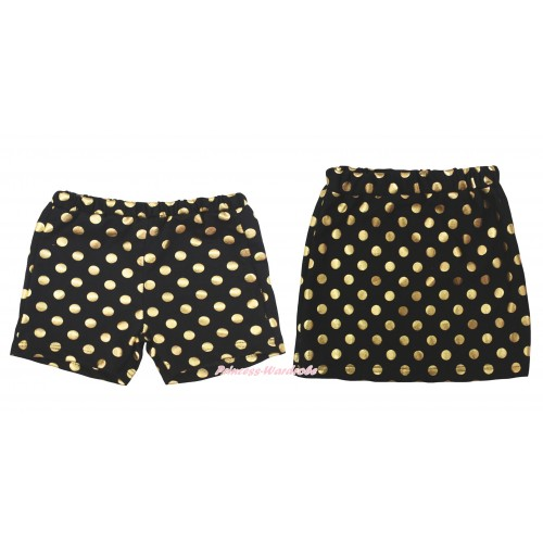 Black Gold Dots Cotton Short Panties & Skirt 2 Piece Set PS033