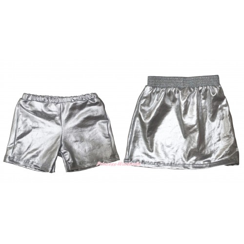 Silver Cotton Short Panties & Skirt 2 Piece Set PS035