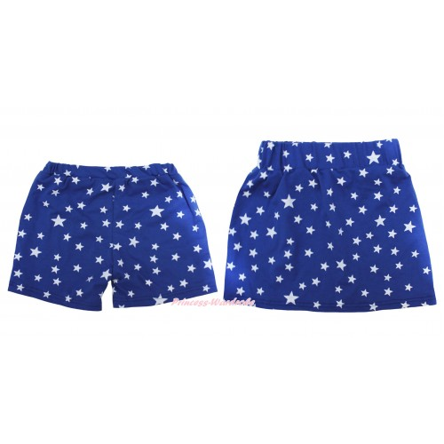 Royal Blue White Star Cotton Short Panties & Skirt 2 Piece Set PS036