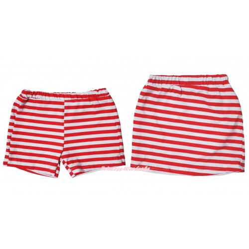 Red White Striped Cotton Short Panties & Skirt 2 Piece Set PS037