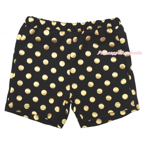 Black Gold Dots Cotton Short Panties PS046