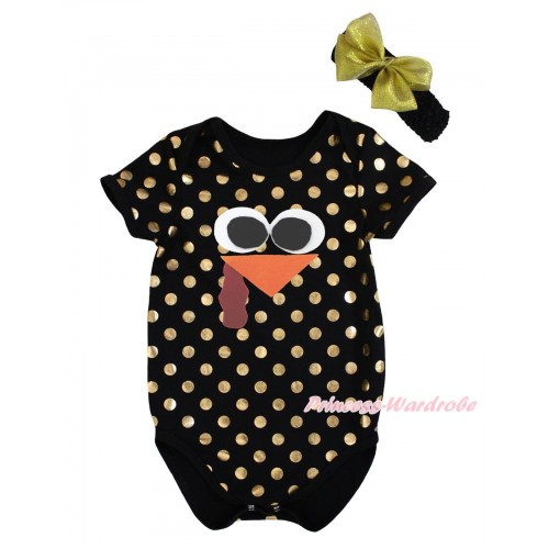 Thanksgiving Black Gold Dots Baby Jumpsuit & Turkey Face & Headband TH745