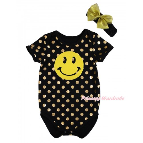 Black Gold Dots Baby Jumpsuit & Yellow Smile Print & Headband TH746