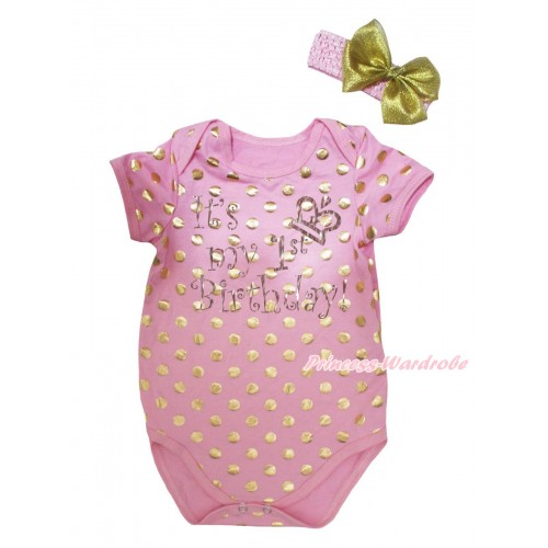 Light Pink Gold Dots Baby Jumpsuit & Sparkle It's My 1st Birthday Painting & Headband TH748