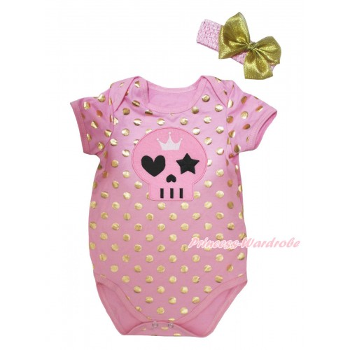 Halloween Light Pink Gold Dots Baby Jumpsuit & Pink Skull Print & Headband TH750