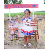 White Pettitop Red White Star Ruffles Royal Blue Bow & Sparkle Pre-School Princess Painting & Royal Blue Red White Star Trimmed Pettiskirt MG2336