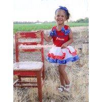 Red Pettitop Royal Blue White Twin Star Bows & Kindergarten Princess Grace Painting & Royal Blue Red White Star Trimmed Pettiskirt MG2339