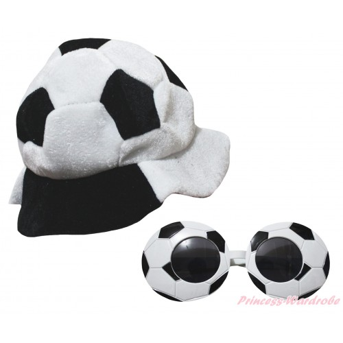 Black White Football Costume Party Warm Hat & Sun Glasses Accessory Costume Set C448