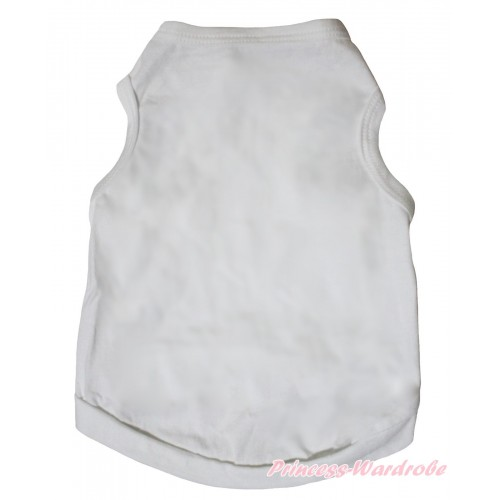 Plain Style White Sleeveless Pet Shirt Top DC319