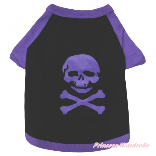 Halloween Black Purple Skeleton T-Shirt Pet Top DC323