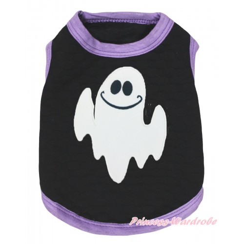 Halloween Light Purple Piping Black Sleeveless Pet Shirt Top & White Ghost Print DC326